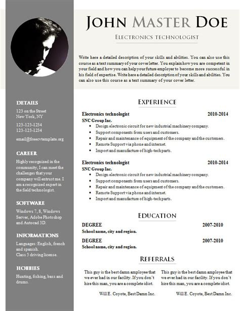 Resume Template Doc by Free Cv Template 681 687 Free Cv Template Dot Org
