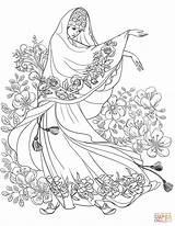 Coloring Floral East Motif Near Belly Dancing Dance Printable Arabic Drawing Islam Supercoloring Elegant sketch template