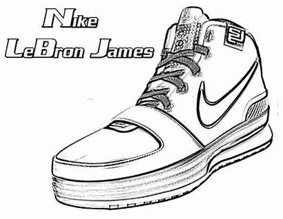 Coloring Lebron Nike Shoes James Pages Drawing