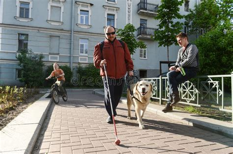 Blind Man And Guide Dog Editorial Photo. Image Of Male