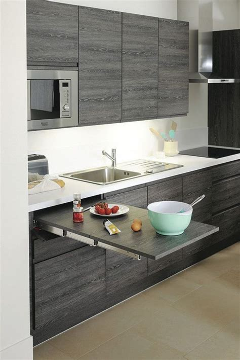 implantation type cuisine table extractible dissimulée 1 mètre de longueur cuisine