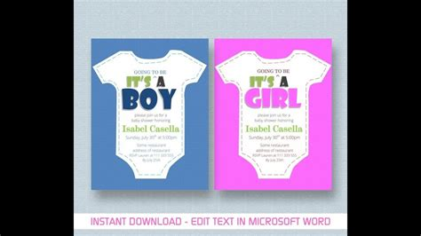 baby shower invitation template  ms word youtube