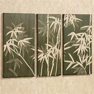 Bamboo grove wooden triptych wall art set