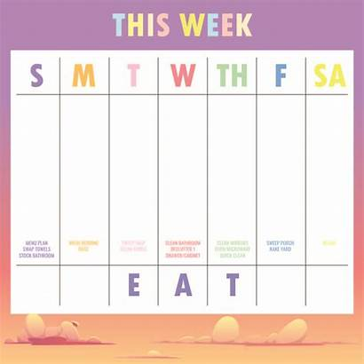 Weekly Calendar Printable Template Schedule Planner Colorful