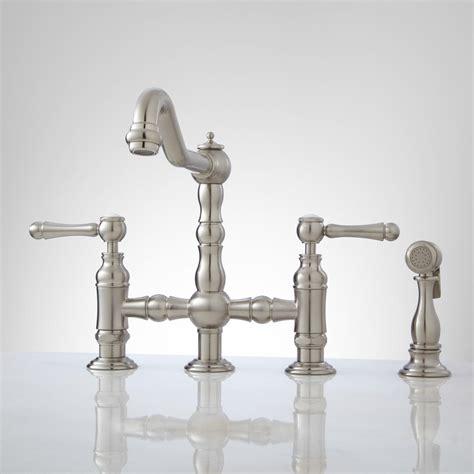 delilah deck mount bridge faucet  side spray lever handles kitchen