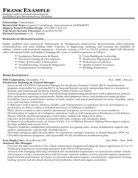 Federal Style Resume by Exle Of A Federal Government Resume Spouse