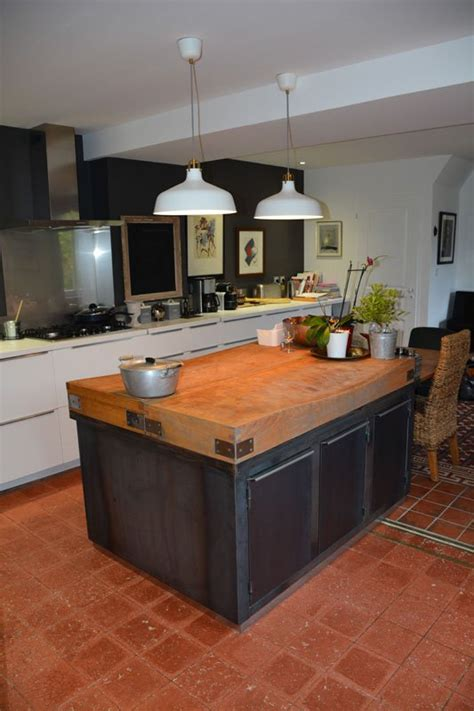 meuble central de cuisine ilot central de cuisine dans un style industriel les
