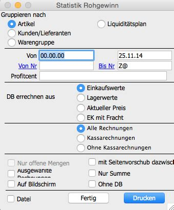 dokumentation officeno rohgewinn report und statistik