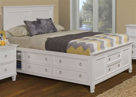 White Queen Platform Bed With Drawers. Affordable Liberty