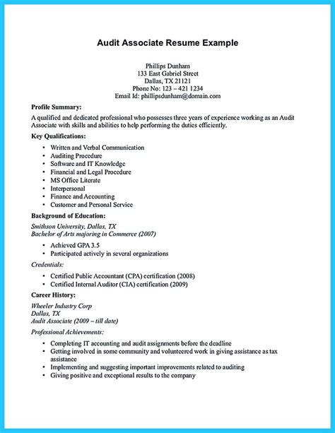 Audit Associate Resume Format by A Concise Credential Audit Resume