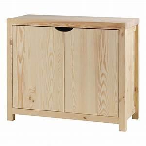 Meuble Bas 2 Portes : meuble bas pin massif brut 2 portes lune couleu achat ~ Dallasstarsshop.com Idées de Décoration