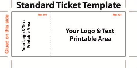 standard admission ticket template  logo  text area