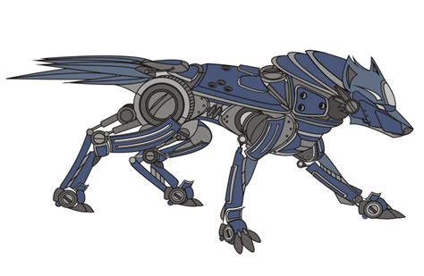 Pencil And In Color Drawn Wolf Robot