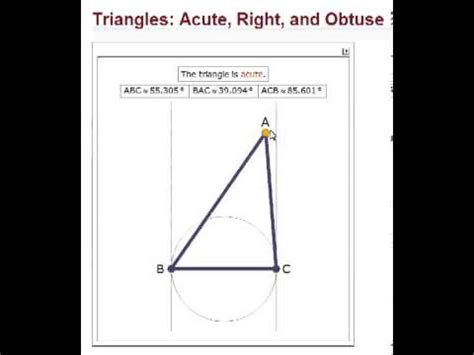 007 Learn Geometry Acute Obtuse And Right Angled Triangles Wolfram Alpha Demonstration Youtube