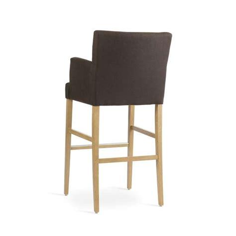 chaise bar 4 pieds tabouret de bar avec accoudoirs en bois et tissu shawn