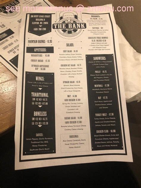 See restaurant menus, reviews, hours, photos, maps and directions. Online Menu of The Bank by Pizza Shack Restaurant, Clinton, Mississippi, 39056 - Zmenu