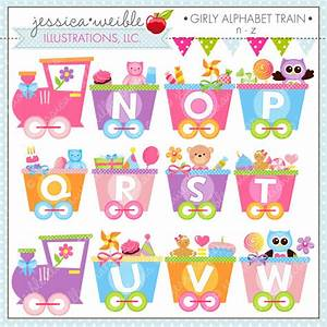 girly alphabet train n z cute digital clipart for commercial With alphabet train letters