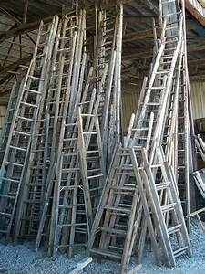 Antique, Wood, Ladder, With, 13, Rungs, -, 156, U0026quot, Long