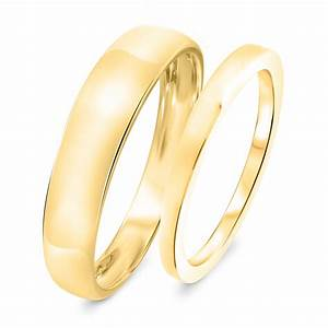 Traditional wedding band set 10k yellow gold my trio for Traditional wedding ring