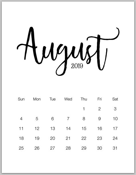 minimalist printable calendar  january  december