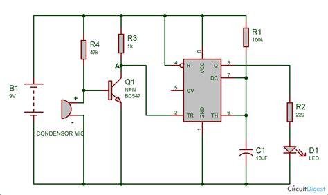 clap switch circuit diagram using ic 555