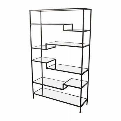 Glass Metal Shelves Bookcase Market Drawing Asymmetrical