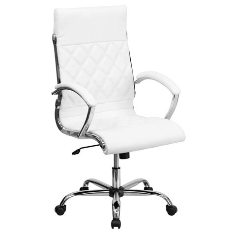 high back designer white leather executive office chair