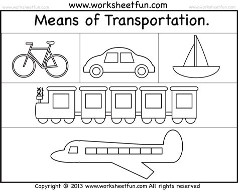 transportation worksheets kindergarten craftsactvities