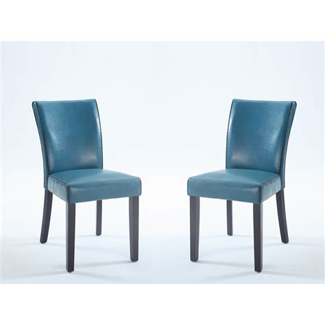 chintaly bonded leather parsons chair in blue