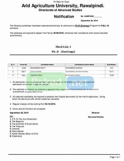 Merit Arid University Zoology Agriculture Rawalpindi Fall