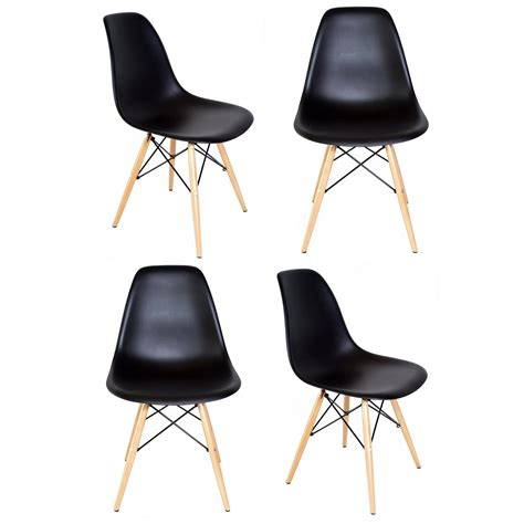 dsw chaise set of 4 eames style dsw molded black plastic dining shell