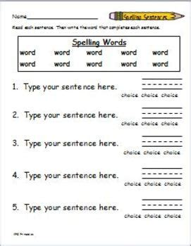 spelling packet template create your own spelling worksheets by katherine g