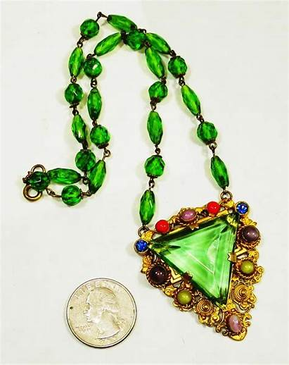 Uranium Czech Glass Jeweled Signed Lg Necklace