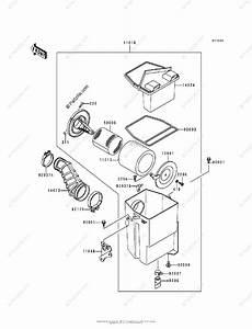 Kawasaki Atv 1989 Oem Parts Diagram For Air Filter Klf300
