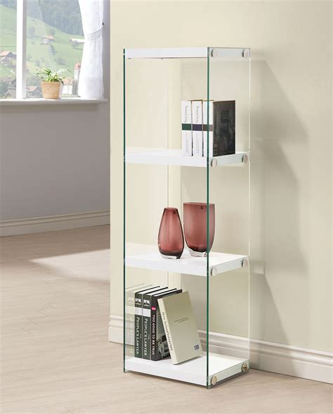 arlington white gloss bookcase  las vegas furniture