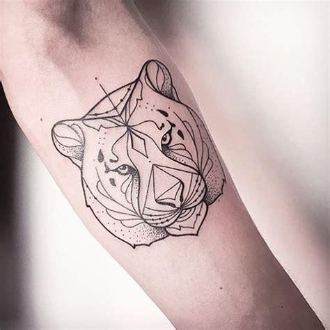 black ink medium size forearm tattoo  tiger head