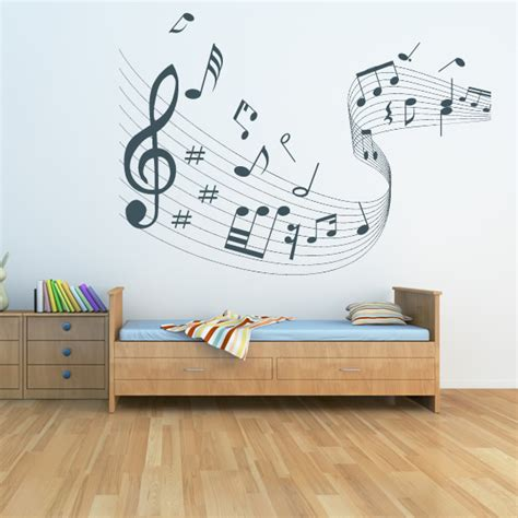 Note Wall Decor - quaver led musical wave wall stickers musical notes wall