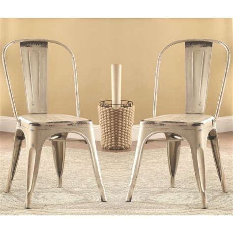 vintage distressed rustic white metal dining chairs