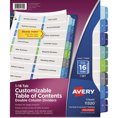 avery 25 tab table of contents template table of content divider specialty marketplace