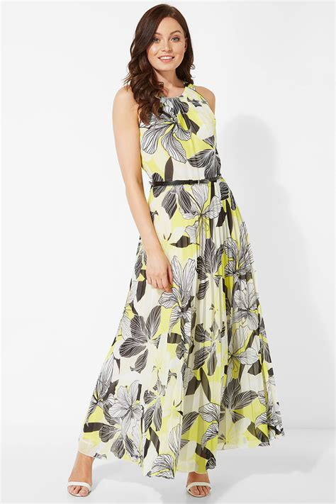 Floral Halter Neck Pleated Maxi Dress In Yellow Roman