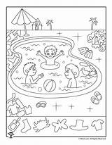 Hidden Worksheets Pool Coloring Printable Swimming Objects Activities Kindergarten Activity Sheets Grade Worksheet Preschool Printables Highlights Woojr Objetos Fun Games sketch template