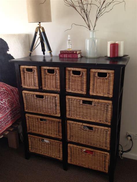 updated  tired wicker dresser   modern black finish