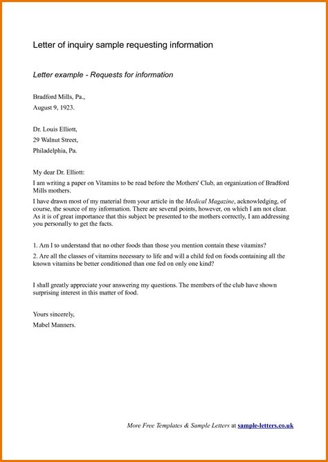inquiry letter sample