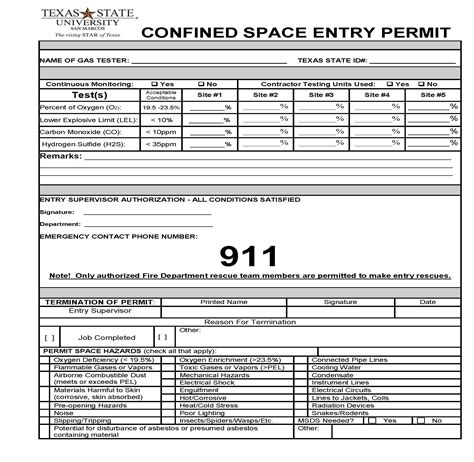 confined space entry permit environmental health safety