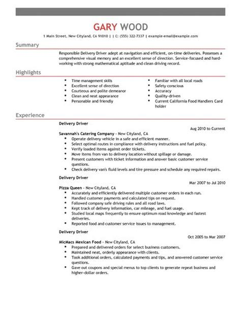 delivery driver resume examples food restaurant resume