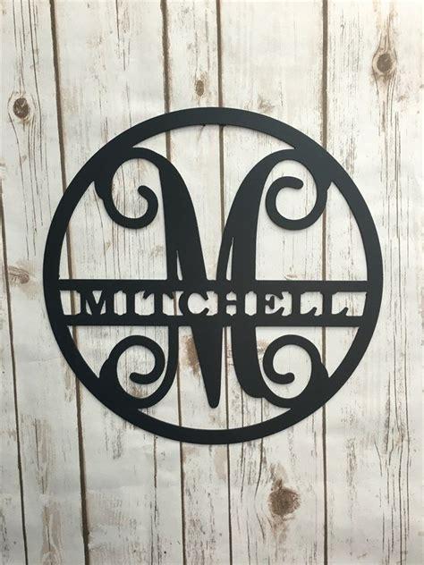 circle vine monogram initial  family  personalized metal signs  wall art vine