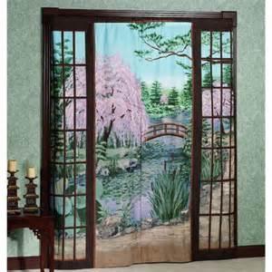 zen garden trompe l oeil window art mural curtains 72 x 84
