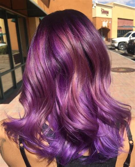 sassy purple highlighted hairstyles  short medium