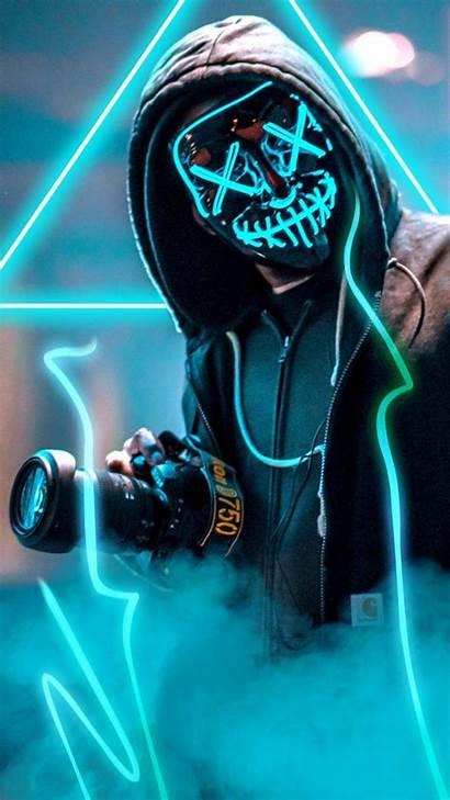 Wallpapers Cool Keren Mask Neon Guy Masa