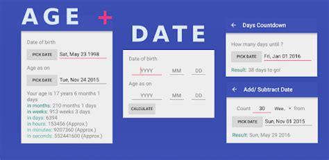 age calculator date calendar calculator app apps google play